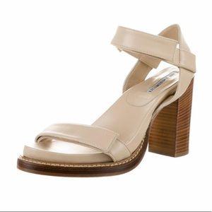Ann Demeulemeester Nude Velcro Wood Heels sz 39.5